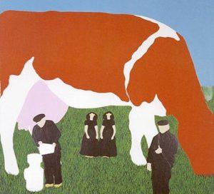 1967 - 2 boerinnen - Wim Gijzen - schilderij 120 x 120 cm