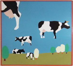 1967 Koeien die de horizon ontkennen - schilderij 120x120 - Wim Gijzen