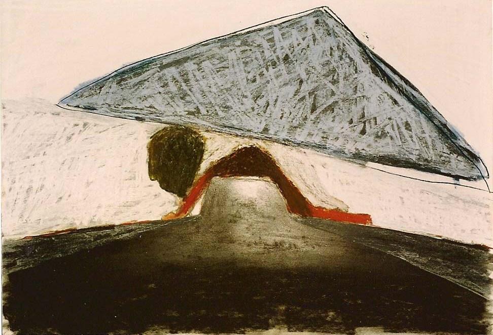 1986 tekening gem techniek 75x100 cm - Collectie Loek v d Sande