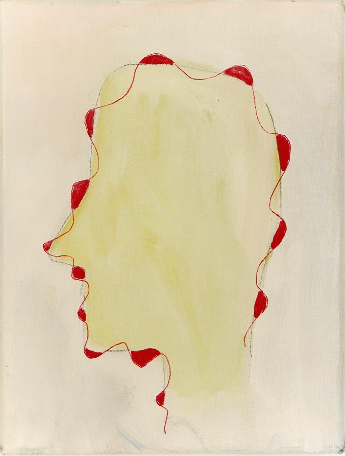 1989 Schilderij ZT 25 x 19 cm olieverf potlood-merkstift op linnen Part Coll