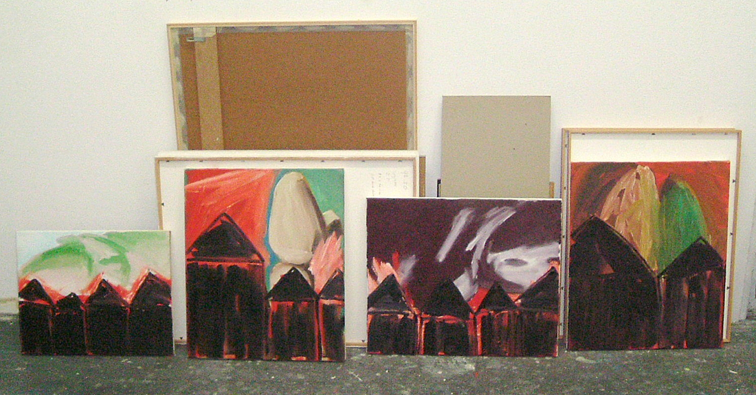 2002 - 4 x 'Brandende huizen' - op 4 stillevens uit 1993 , olieverf op linnen 60 x 50 cm - Wim Gijzen - Dutch art Netherlands